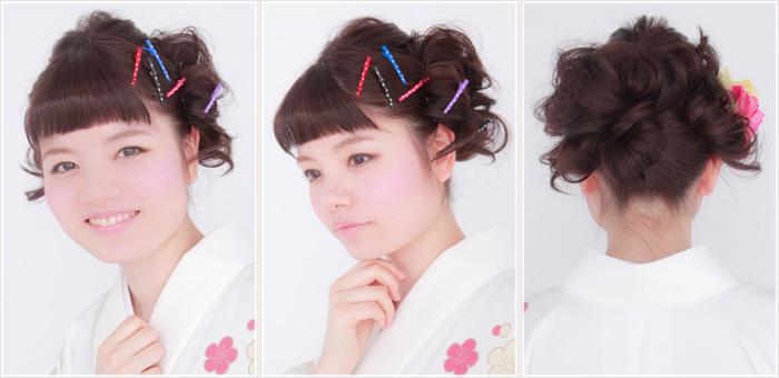 キュートな着物スタイルのヘアスタイル