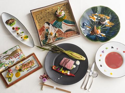 旬の食材をふんだんに使った日本閣オリジナル「和モダン懐石」。
