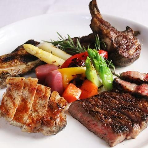 【湘南フレンチ】ミックスグリル。黒毛和牛・仔羊など4種のお肉をご堪能!