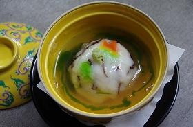 多喜合わせ甘鯛の蕪蒸し翡翠ソースかけ