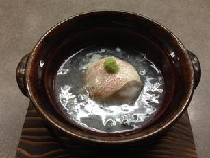 甘鯛のフォアグラ包み蕪銀餡蒸し