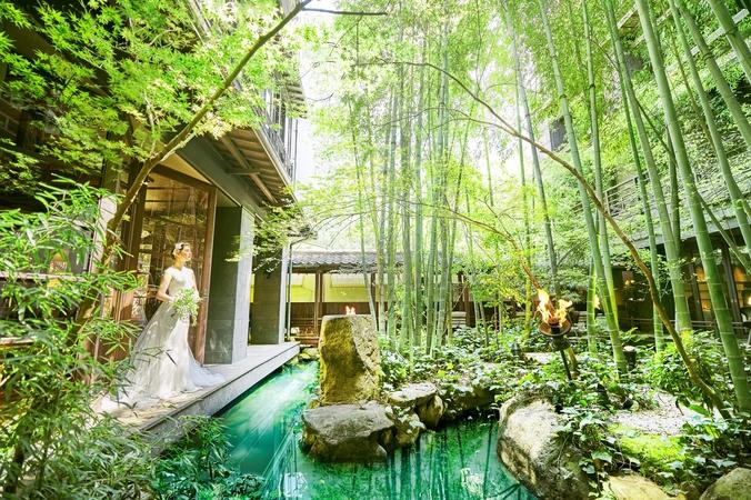 玄関から真っ直ぐ進むと開かれる中庭の美しい緑。