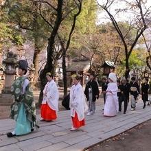 提携神社で花嫁行列